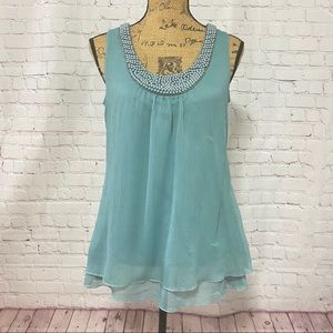 👚Maurices Beaded Layered Flowy Sleeveless Blouse